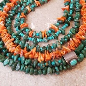 Green Turquoise Spiny Oyster Multi Strand Necklace